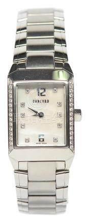 瑞士 CONCORD 君皇 鋼貝母面石英腕錶