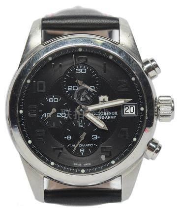 瑞士 VICTORINOX 鋼自動上鏈皮帶腕錶 (原裝扣)