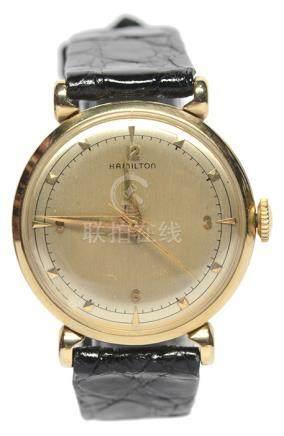 HAMILTON 14K黃金手動上鏈皮帶腕錶 (原裝扣)