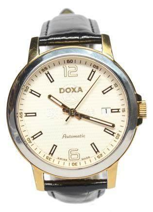 瑞士 DOXA 鋼鍍金自動上鏈皮帶腕錶 (原裝扣)