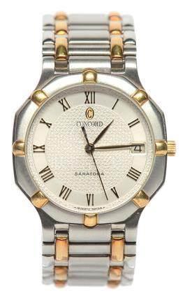 瑞士 CONCORD 君皇 18K黃金鋼石英腕錶
