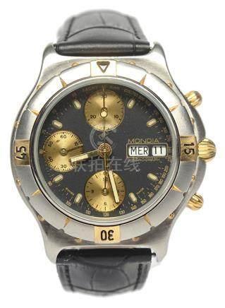 MONDIA 鋼自動上鏈皮帶腕錶