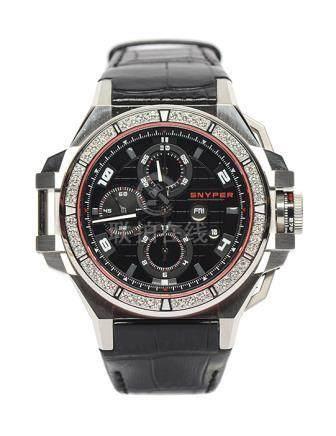 瑞士 SNYPER 鋼鑲鑽石自動上鏈皮帶腕錶 (限量版 全新、附原裝盒、原裝扣)