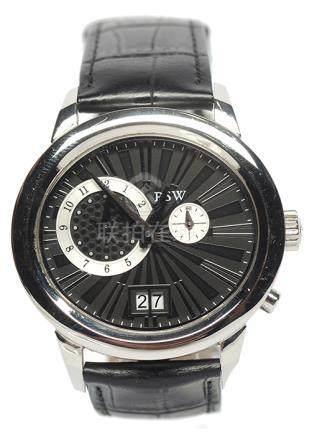 瑞士 RSW 鋼石英皮帶腕錶 (原裝扣)