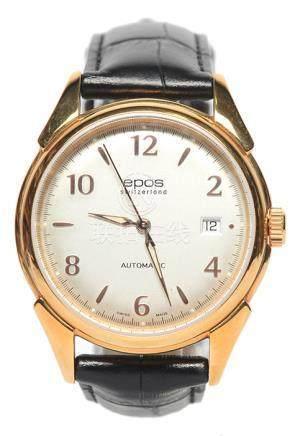 瑞士 EPOS 鍍金自動上鏈皮帶腕錶 (原裝扣)