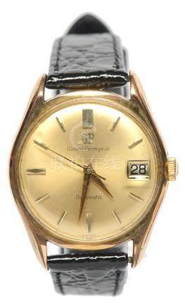 瑞士 GP 芝柏 鍍金自動上鏈皮帶腕錶 (原裝扣)