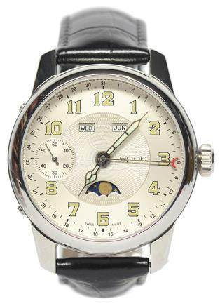 瑞士 EPOS 鋼手動上鏈皮帶腕錶 (原裝扣)