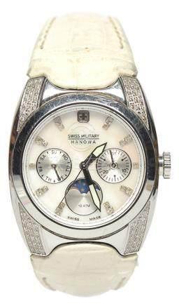 瑞士 SWISS MILITARY 鋼貝母面石英皮帶腕錶 (原裝扣)