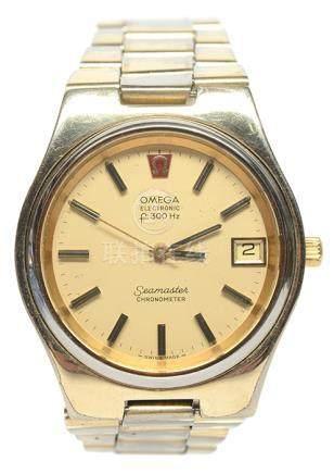 瑞士 OMEGA 奧米加 鍍金石英腕錶