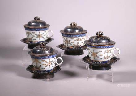 4 Chinese 19C Porcelain Teacup Silver Cover & Tray