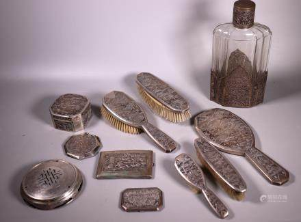 11 Chinese Repousse Silver Dressing Table Objects