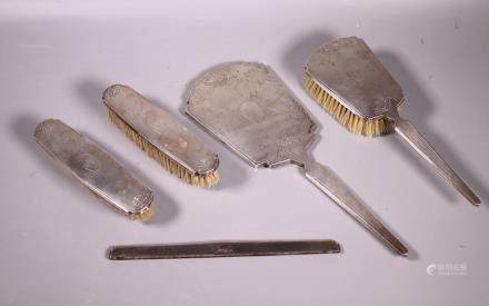 Chinese Art Deco Silver Dresser Set; 5 Pieces