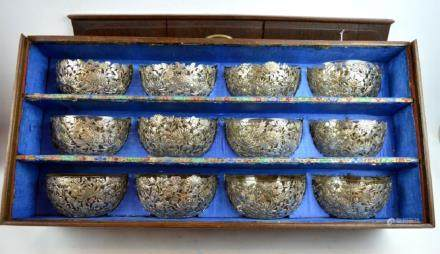 Set 12 Chinese Silver Bowls Clear Glass Liners