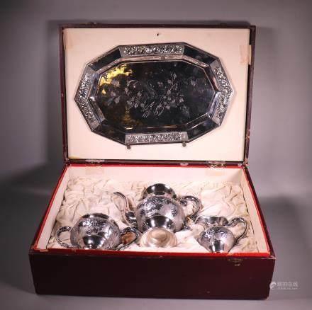 Tian Jian Wuhua Chinese 4 Part Silver Teapot Set