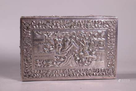 Chinese Qing Repousse Engraved Hinged Silver Box