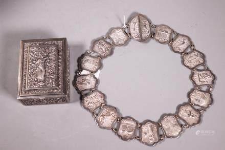 Two Antique Asian Repousse Silver Box & Link Belt