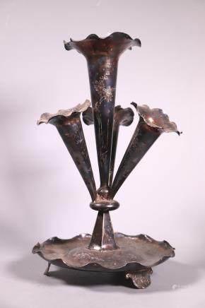 Chinese 19 C Silver 4 Trumpet Centerpiece Vase