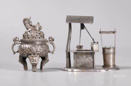 2 Chinese Silver Miniatures, Incense Burner & Well