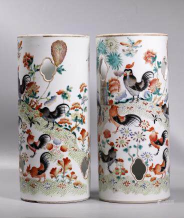 Pair Chinese 19 C Rooster Porcelain Hat Stands