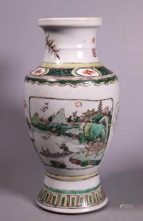 Chinese Kangxi Famille Verte Porcelain Vase