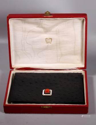 1950's Cartier Paris Coral Ostrich Clutch Handbag