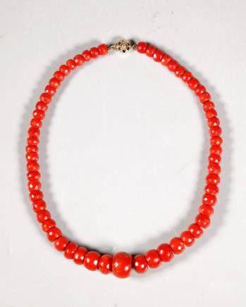 Antique Dark Coral Bead Necklace; 61.5G