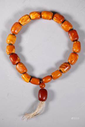 Chinese Butterscotch Amber 18 Bead Rosary; 79G