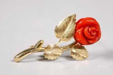 Vintage Carved Dark Coral Rose Flower 18K Gold Pin