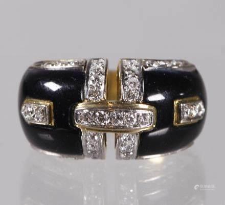 Black Stone Inlay & Diamond 18K Gold Ring