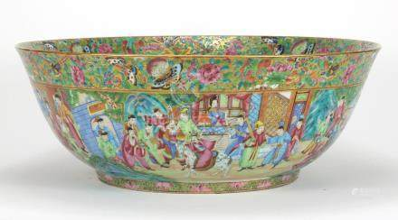 Large Chinese porcelain Canton punch bowl, the exterior finely hand painted in the famille rose