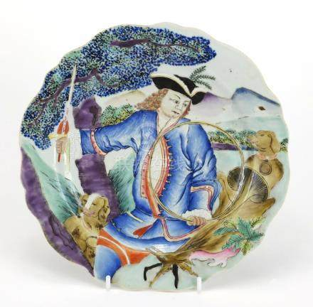 Good Chinese porcelain plate finely hand painted with a huntsman holding a horn and sword with two