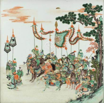 Chinese porcelain panel finely hand painted in the famille verte palette with warriors on horseback,