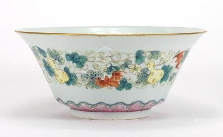 Good Chinese porcelain fluted bowl hand painted in the famille rose palette with bats amongst