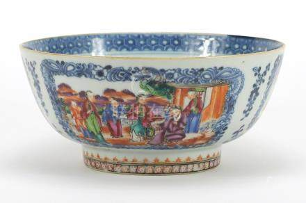 Chinese blue and white porcelain footed bowl, hand painted in the famille rose palette with panels