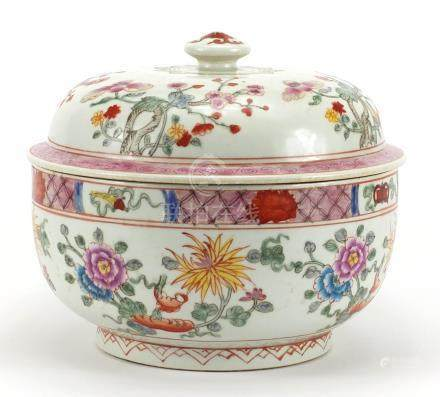 Large Chinese porcelain bowl and cover, hand painted in the famille rose palette with flowers, six