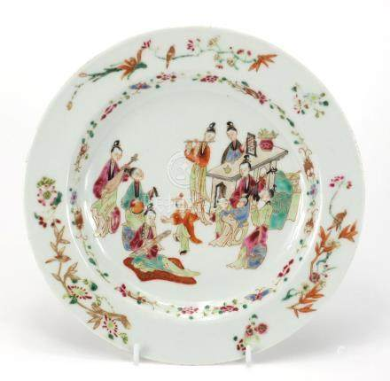 Chinese porcelain plate hand painted in the famille palette with figures playing instruments and