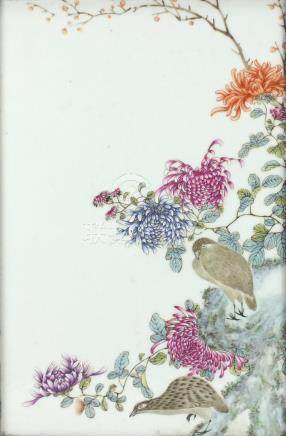 Chinese rectangular porcelain plaque, finely hand painted in the famille rose palette with two