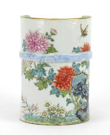 Chinese porcelain naturalistic vase, finely hand painted in the famille rose palate with a butterfly