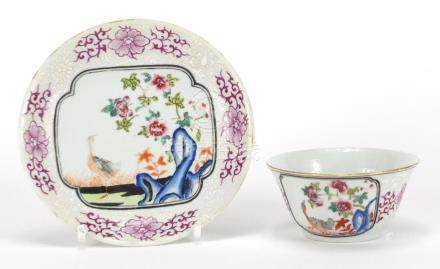 Chinese porcelain ta bowl and saucer hand painted in the famille rose palette with a geese and