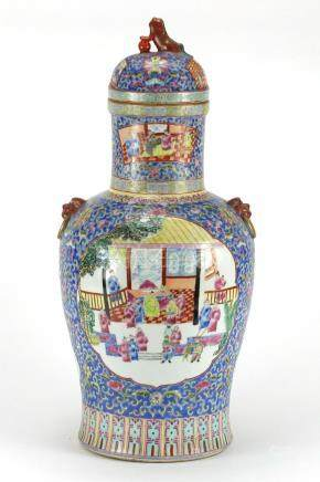 Large Chinese porcelain baluster vase and cover, with twin iron red animalia handles, hand painted