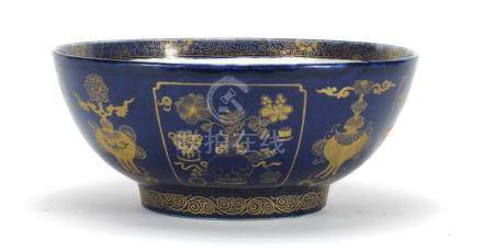 Chinese porcelain powder blue bowl, gilded with objects, 29cm in diameter : For Further Condition
