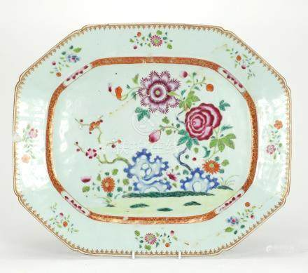 Chinese porcelain meat platter, hand painted in the famille rose palette with flowers, 46cm wide :