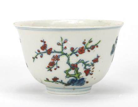 Chinese porcelain bowl hand painted depicting three trees, six figure character marks to the base,