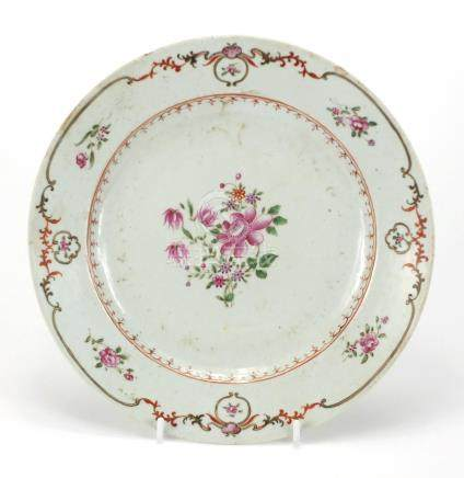 Chinese porcelain armorial shallow dish, hand painted with flowers, 24.5cm in diameter : For Further
