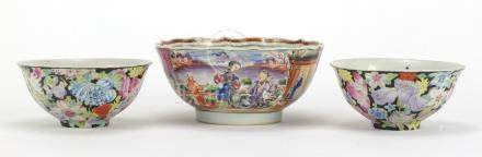 Three Chinese porcelain bowls including a pair hand painted with Thousand Flowers, the largest