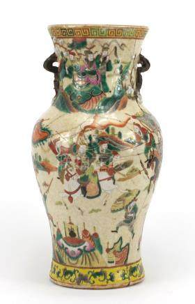 Chinese crackle glazed vase with twin handles, hand painted in the famille verte palette with