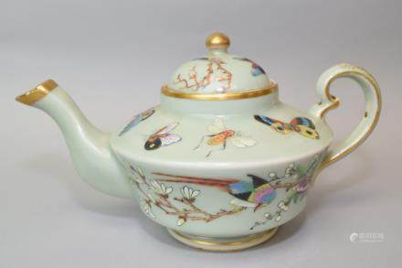 18-19th C. Chinese Pea Glaze Famille Rose Teapot