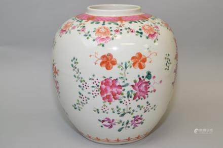 18-19th C. Chinese Export Famille Rose Jar