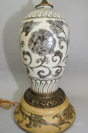 Asian Blue and White Flower Mei Vase Lamp