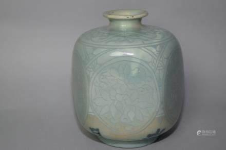 17-18th C. Japanese Celadon Glaze Relief Vase